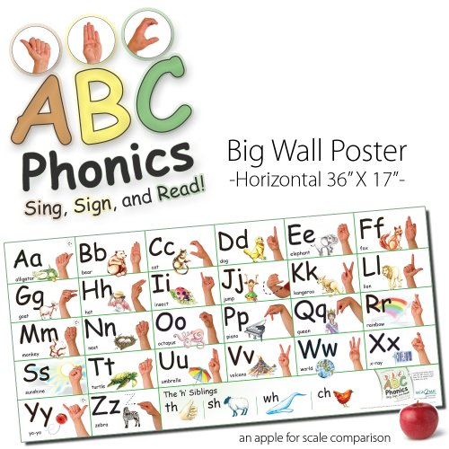 ABC Phonics: Sing, Sign, and Read! - Big ASL Horizontal Wall Poster - 17 by 36 inches Tall - Laminated (Asl-diagramm)