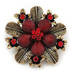 "Broche fleur ""Botanica"" en finition or ancien cristal/pierre (rouge) - diamètre 5,5cm"