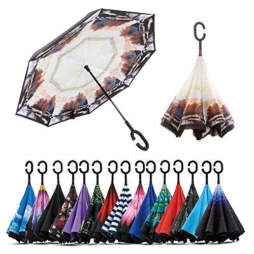 Jooayou Paraguas Invertido de Doble Capa,Paraguas Plegable de Manos Libres...