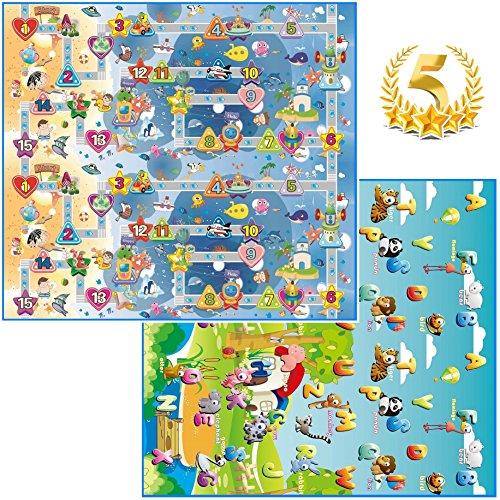 GLOBOLANDIA SRL 92714 Tappeto Bambini ultra morbino, 200x180x1 cm, Doppia faccia (Lettere/Numeri)