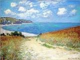 Poster 80 x 60 cm: Weg durch den Weizen bei Pourville von Claude Monet - Hochwertiger Kunstdruck, Kunstposter