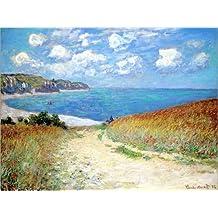 Leinwandbild 80 x 60 cm: Weg durch Den Weizen Bei Pourville von Claude Monet - fertiges Wandbild, Bild auf Keilrahmen, Fertigbild auf Echter Leinwand, Leinwanddruck