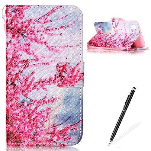 Feeltech LG X Power Hülle,LG X Power Magnet Leder Wallet Cover,Elegant Soft PU Kartenfach Extra Dünn Tasche Bunte Relife-Muster [Stand Funktion] Karte Halterung Klapp hülle Flip Book Design Case Flexi Zwetschge Blüte