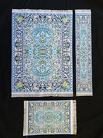 Ensemble Bleu Tapis tissé Tapis de souris + Tapis Dessous de Verre + Tapis Marque-page–Style oriental Carpet Tapis de souris miniature Tapis