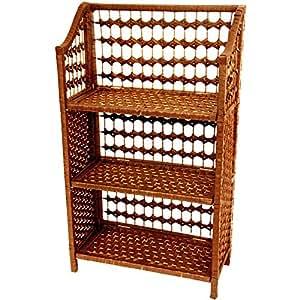 Oriental Meubles en rotin tressé Petit Design Style 3étagère étagère Book Étui pliable, 84cm fibre naturelle, Miel