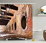 LZHsunni88 Industrial Decor Collection, Ruins of an Old Industrial Site 1890's The Most Polluted Towns in Europe Picture, Polyester Fabric Bathroom Shower Curtain, 84 inches Extra Long, Ivory