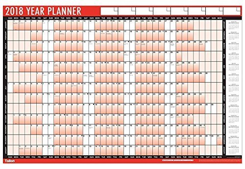 2 x 2018 A1 Laminated Yearly Wall Planner Calendar With Wipe Dry Pen & Sticker Dots