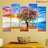#9: WallMantra Abstract Color Tree Premium Quality Canvas Wall Hanging
