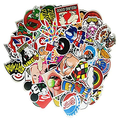 eBerry 100PCS Waterproof Graffiti Stickers - Random Style Mix Lot Fashion Unique Vintage Stickers for Suitcase Skateboard Snowboard Helmet Luggage Guitar Car Bike Bicycle Laptops Bumper Stickers