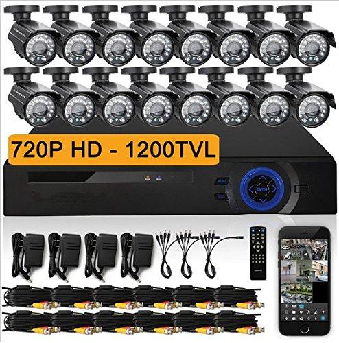 Gowe 16CH AHD 720P DVR Kit CCTV Video System 16x 720P 1200TVL Indoor Outdoor Sicherheit Kamera Set 16Kanal (16 Ch Dvr-kit)