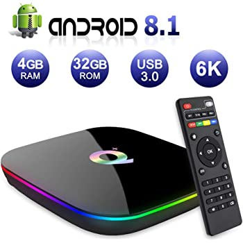 Android TV BOX,Q PLUS Android 8.1 TV BOX 4GB RAM/32GB ROM H6 Quad-Core Supporto 2.4Ghz WiFi 6K HDMI DLNA 3D Smart TV BOX