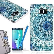 We Love Case Funda Carcasa para Samsung Galaxy S6 Edge Plus Silicona TPU Suave Funda Cascara Protección Anti Polvo Resistente Diseño Creativo Original de Moda Nuevamente con 1 x Stylus y 1 x Protector de Pantalla y 1 x Colk Anti-Polvo ( Samsung S6 Edge + , dibujo Lotus Azul )