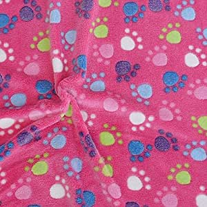 Wellness tissu au mètre en polaire motif patte de rose
