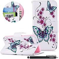 HUDDU Bunt Muster Handyhülle Schutzhülle für Huawei P Smart Hülle Blumen Schmetterling Slim Flip Leder Tasche... preisvergleich bei billige-tabletten.eu