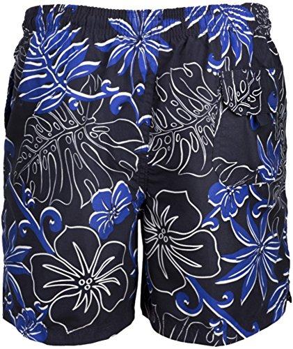 Faded Glory Herren Badehose mit Blumenmuster Blau - Blau