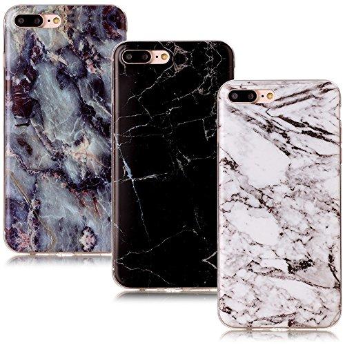 CLM-Tech 3in1 Zubehör Set: 3 x TPU Gummi Schutzhülle Tasche kompatibel mit iPhone 7 Plus / 8 Plus Hülle Case Gel Schale Marmor Muster schwarz weiß bunt Cover -