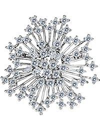 Clearine Mujer Boda Moda Zircón Cluster Copo de Nieve Broche Elegante Pin