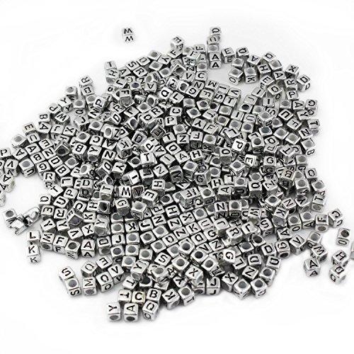 Mixed 500PCS 6mm Acrylplastik Buchstabenperlen Spacer Würfel Buchstabenperlen für DIY Armband-Halsketten -Anhänger (Silber)
