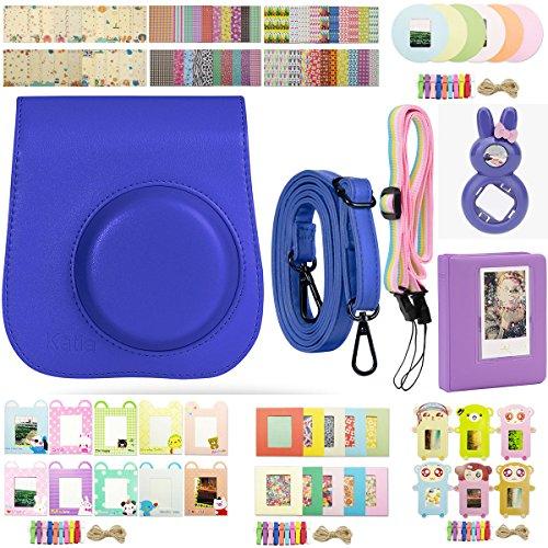 Polaroid-kamera-bundle Set (Katia Sofortbildkamera Zubehör für Fujifilm Instax Mini 8 Instant Kamera - Mini 8 Gehäuse / Fotoalben / Selfie Objektiv / Filter / Border Aufkleber / Wandhalter Rahmen / Kamera Strap - Set8 - Dunkel violett)