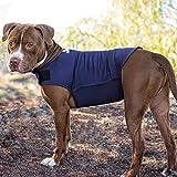 Rabbitgoo Hundemantel Anti-Angst-Effekt T-Shirt mit Stressabbau für Hunde Angst vor Donner, laute Geräusche, Feuerwerk, Flammen, Reisen, Fremde,Trennung (Marineblau, L)