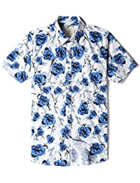 Men's Short Sleeve Floral Print Button Down Casual Shirt