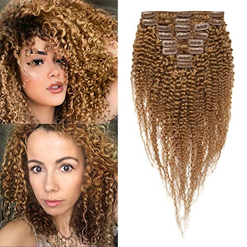 Extension capelli veri ricci clip biondi - 8 fasce extensions afro 45cm double weft con 18 clips 100% remy human hair umani brasiliani full head 120g #27 biondo scuro