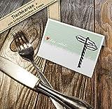 50 Tischkarten - Trinken! Essen! Quatschen! Grün | Schild Design in Lindgrün | Namenskarten, Platzkarten zum beschriften für Hochzeit, Geburtstag, Familienfeier, Jubiläum | Recyclingpapier CO2 neutral - 2
