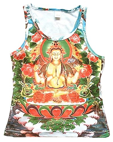 Ticila Damen Tank Top Shirt Weiss WHITE TARA Orchidee Nepal Bhutan Tipet Buddha Kunst Art Religion Star Designer Vintage Tattoo Design M 38/40 (White-tank Vintage)