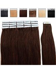 Extensions adhésives Bande adhésive – 40cm - 20pcs - Extensions en cheveux humains naturels - Tape in Remy Hair Extensions – #02 Chocolat foncé
