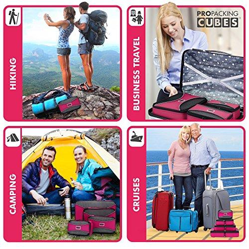PRO Packing Cubes | Packwürfel im 4-teiligen Sparset | Taschen mit 30 % Platzeinsparung | Ultraleichte Gepäckverstauer | Ideal für Seesäcke, Handgepäck und Rucksäcke (Schwarz) Pink