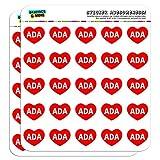 2,5cm (2,5cm) Scrapbooking, Aufkleber I love Herz Namen Buchse A Ali Ada