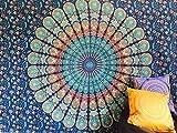 indischen Überwurf Hippie Gypsy, Bohemian Wohnheim Deco 100% Baumwolle Hand Block Print Bedruckt Design Mandala Wandteppich für Beach Tagesdecke