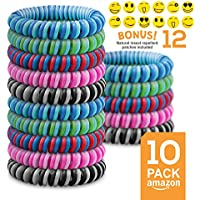 Mosquito Repellent Bracelet - Double Colored Insect Repellent Bands (x10 Assorted Colors) - All Natural - Suitable For All (Kids & Grown Ups) - Indoor & Outdoor Protection - Market Leading Travel Insect Repellent - KEEP MOSQUITOES AWAY NOW! FREE Delivery When You Buy 2 Packs.
