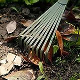 Worth Garden Powder Coating en acier au carbone à la main 9-dents Broom et Râteau Outil avec Grip ergonomique PVC souple