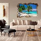murando - 3D WANDILLUSION 140x100 cm Wandbild - Fototapete - Poster XXL - Loch 3D - Vlies Leinwand - Panorama Bilder - Dekoration - Strand Palmen c-C-0153-t-a