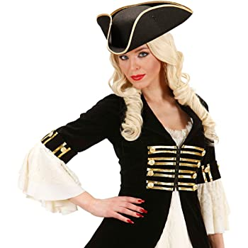 NET TOYS Cappello a tricorno da pirata cappello nero da ufficiale generale  da capitano Jack Sparrow accessorio copricapo per costume 851d0a270bbd
