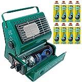 Calefactor de gas portátil para exterior, ideal para pesca y camping, 1,3kW, de gas butano, compacto y ligero + 8 recambios de gas