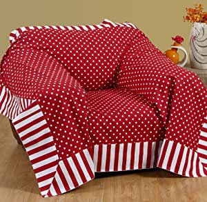 homescapes dekorativer berwurf polka dots rot 150 x 200 cm f r sofa oder bett tagesdecke plaid. Black Bedroom Furniture Sets. Home Design Ideas