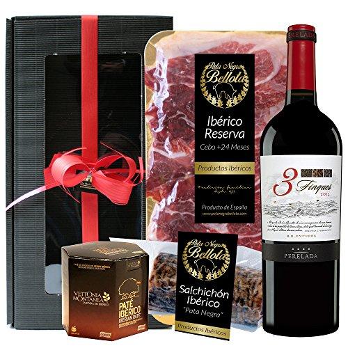 Geschenkkorb- Präsentkorb Spanien Tapas Ibéricas, Iberische produkte, rotwein 3 Fincas Crianza DO Empordà