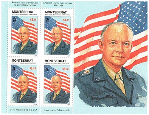 american-history-einsenhower-34e-prsident-de-la-feuille-de-souvenir-etats-unis-avec-4-timbres-1998-m