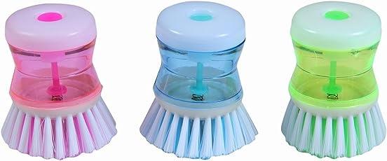HomeMarket Dish/Washbasin Plastic Cleaning Brush With Liquid Soap Dispenser(03 Pcs.)