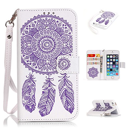 Nutbro iPhone SE Case, iPhone 5/5s/SE Wallet Case, with Built-in Credit Card Slots Wallet Case Flip Cover for iPhone 5/5s/S White/Purple Flower