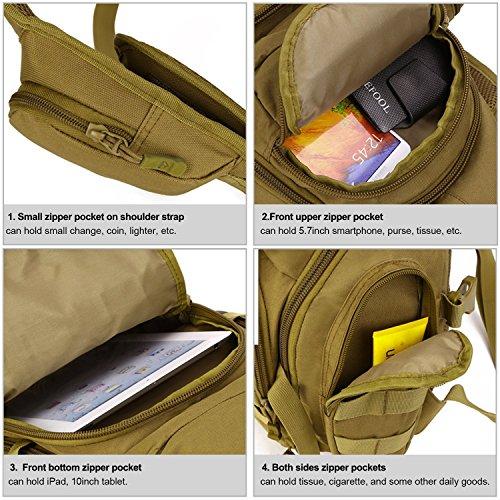 SUNVP Tactical Military Sling Chest Pack BAG Molle Daypack Laptop Rucksack Große Schulter TASCHE Crossbody Duty Gear Für Jagd Camping Trekking Braun