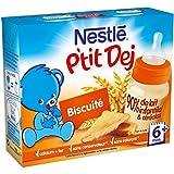Nestlé Bébé P'tit Dej Saveur Biscuité - Brique Lait & Céréales dès 4-6 Mois - 2 Briques de 200ml - Lot de 4