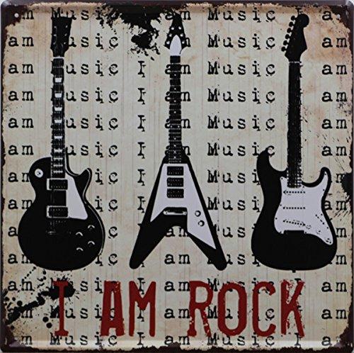Vintage Retro Kaffee Musik Muster Metall blechschild Poster Eisenplatte Pub Hotel Bar Cafe Home Wand-Decor I am rock