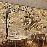 Sucsaistat Murale Non-tissée Moderne de Bande dessinée Moderne Grand Arbre étagère étagère Mur Brique Fond 3D décoration de la Salle Papier Peint, 200 * 140 cm