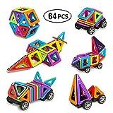 Magnetische Bausteine 64 PCS Bausteine Spielzeug 3D Magnetische Fliesen Bau Blöcke Set Pädagogisches Spielzeug Perfekte DIY Spielzeug mit Riesenrad und Zahlen Spielzeug