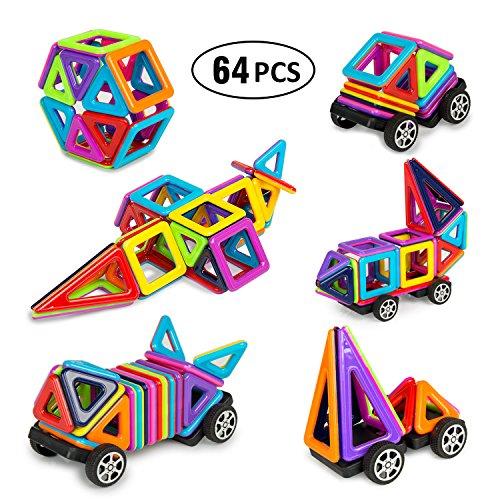 Magnetische Bausteine BIGWING Style Set 64 Teile Inspirierender Standard Bausatz-Kreative und Pädagogische populäres pädagogisches Lernspiel, Tolles Geschenke für Baby Kleinkinder