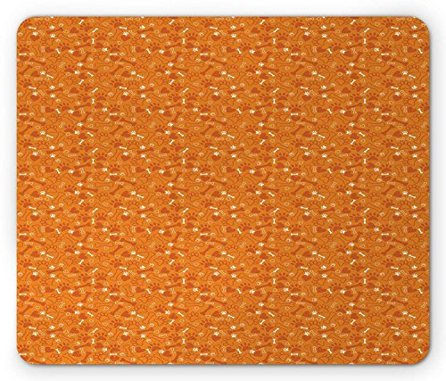 Dog Bone Mouse Pad, Pattern with Paw Prints Bones and Hearts Veterinary Theme, Standard Size Rectangle Non-Slip Rubber Mousepad, Marigold Burnt Orange and White 9.8 X 11.8 inch (Paw Print Cougar)