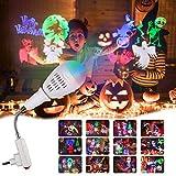 Proiettore Luci Natale, InnooLight Proiettore Lampada a Bulbo E27 per Halloween Proiettore per Decorazioni Natalizie per la Casa la Camera da Letto per le Feste di Compleanno e Capodanno, 12 Pattern Colorati Auto Rotanti Proiettore